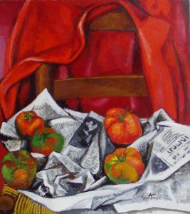"""Renato Gottuso con il suo dipinto """"La giubba rossa"""" del 1985"""