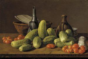 "Louis Meléndez ""Natura morta con cetrioli e pomodori"" 1772"