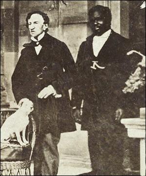 Dr James Barry (a sinistra) con un domestico ed il suo cane Psyche, 1862, Jamaica