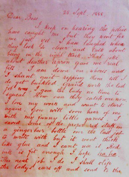 lettera di jack lo squartatore